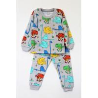 Пижама утепленная для мальчика ДИНО НА СЕРОМ